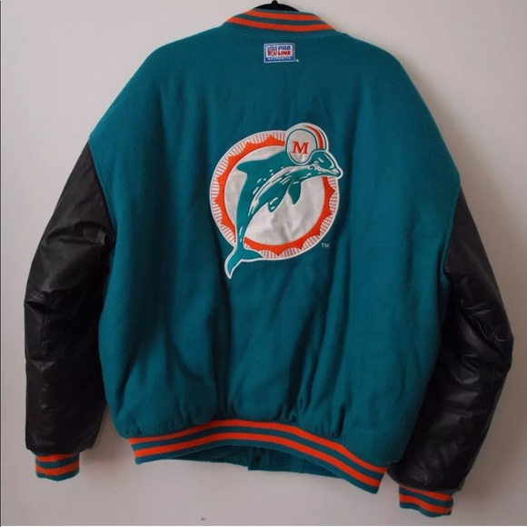 the best attitude 1327f 9a95d VINTAGE Miami Dolphins Jacket NFL Proline Leather